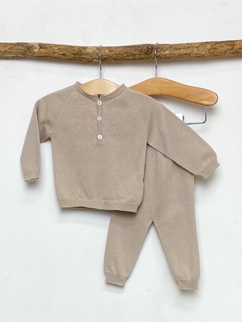 Beige Knitted Lounge Set