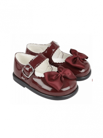Burgundy Patent Bow First Walkers