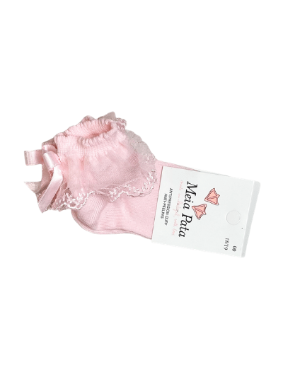 Pink Tulle Bow Ankle Socks