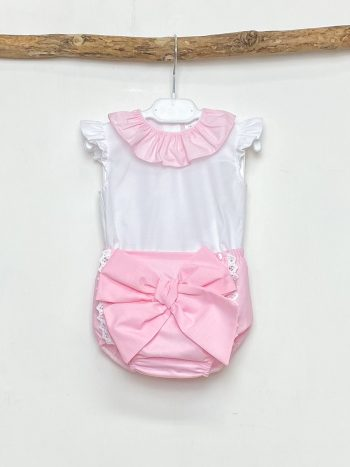 Blouse & Pink Bow Bloomers