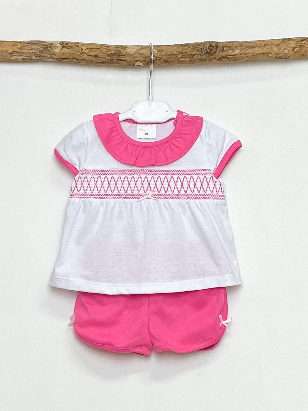 Fuchsia Smocked Tee & Shorts