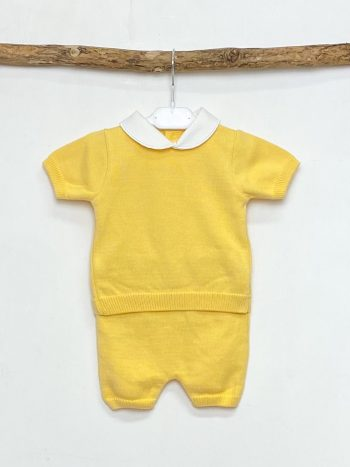 Yellow Knitted Top & Short Set