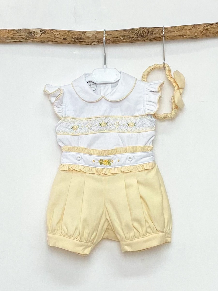 Smocked Blouse & Yellow Shorts
