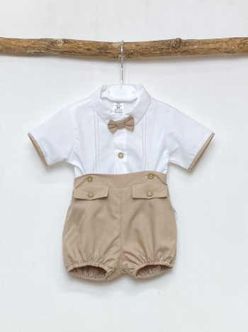 Bow Tie Shirt & Beige Shorts