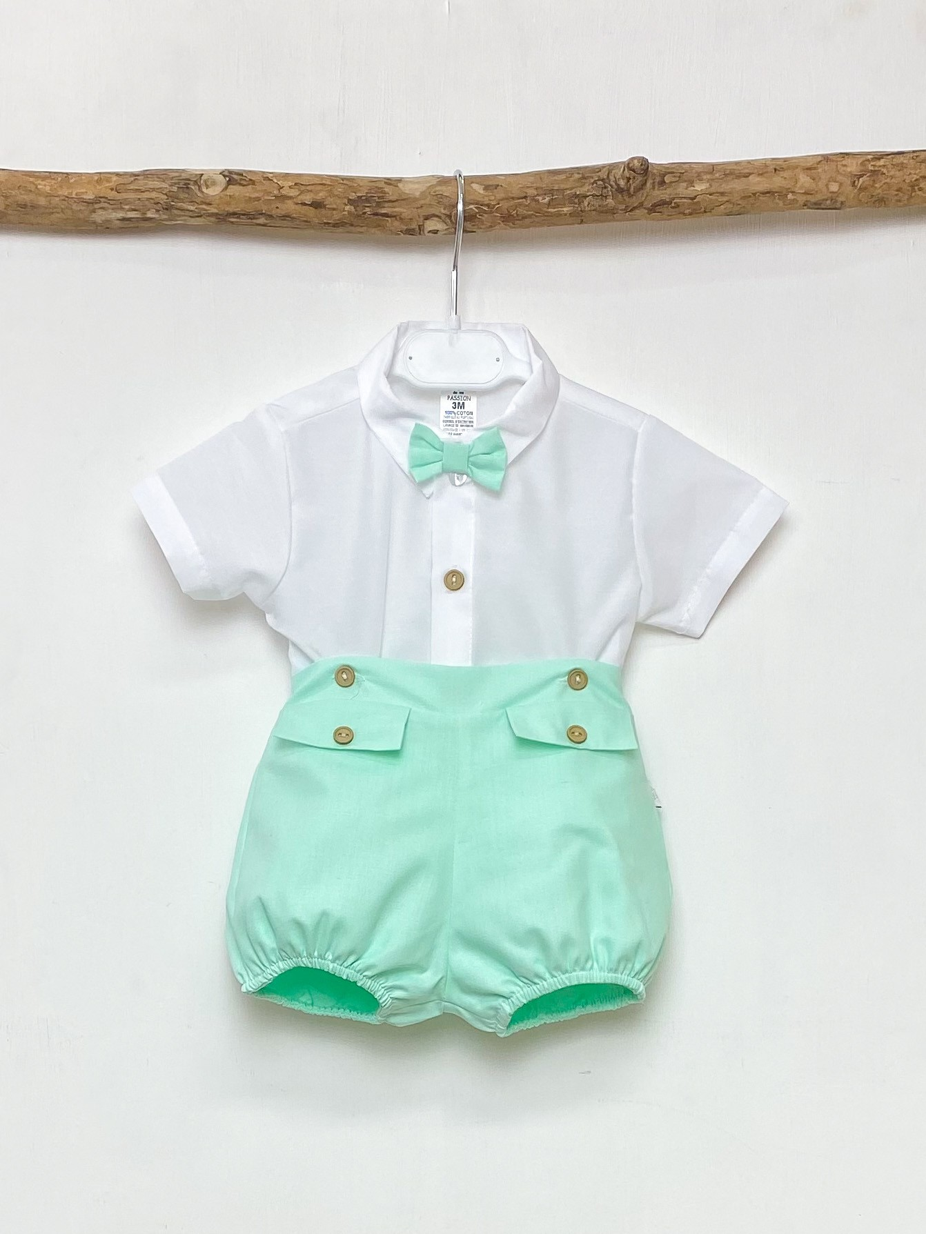 Bow Tie Shirt & Mint Shorts