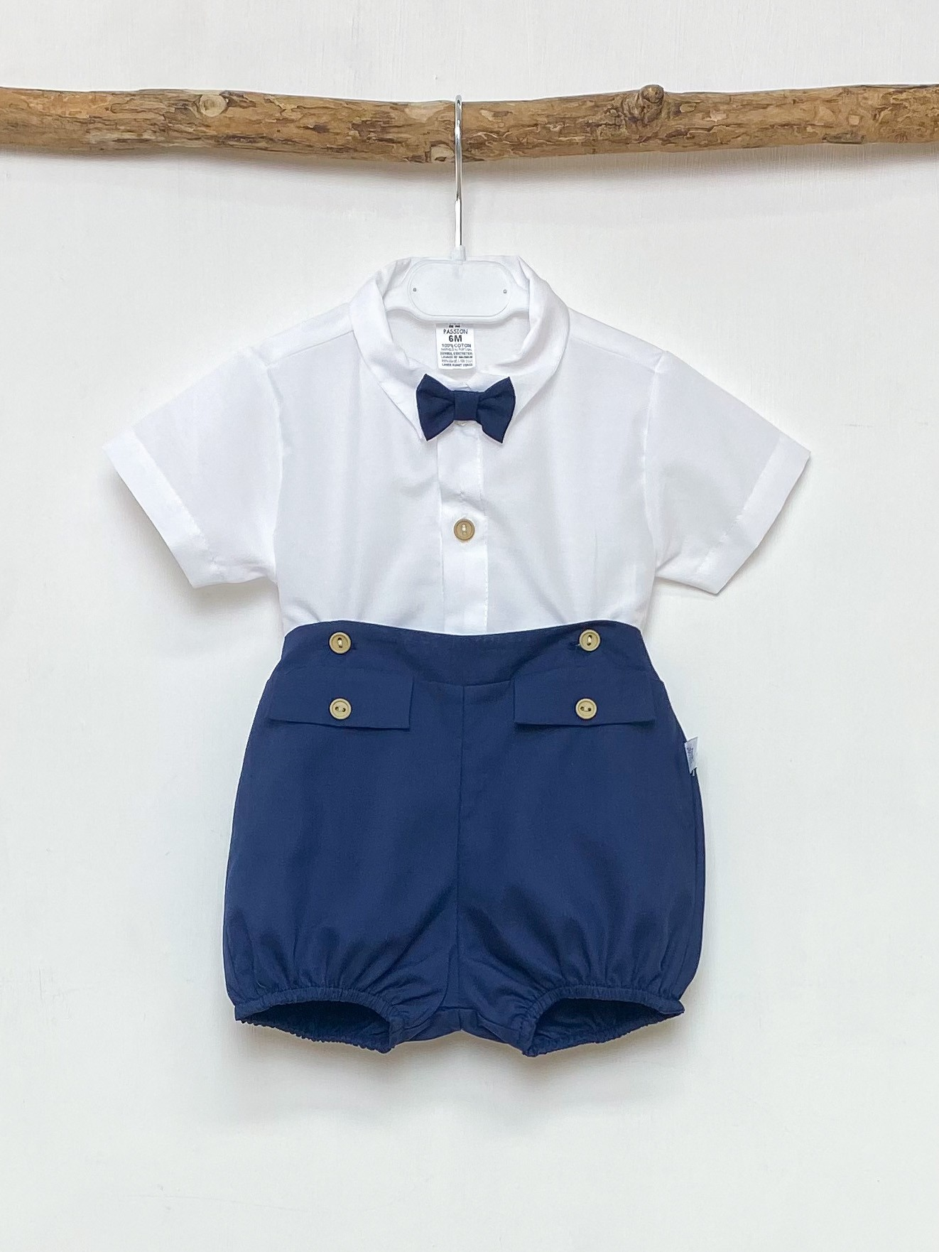 Bow Tie Shirt & Navy Shorts
