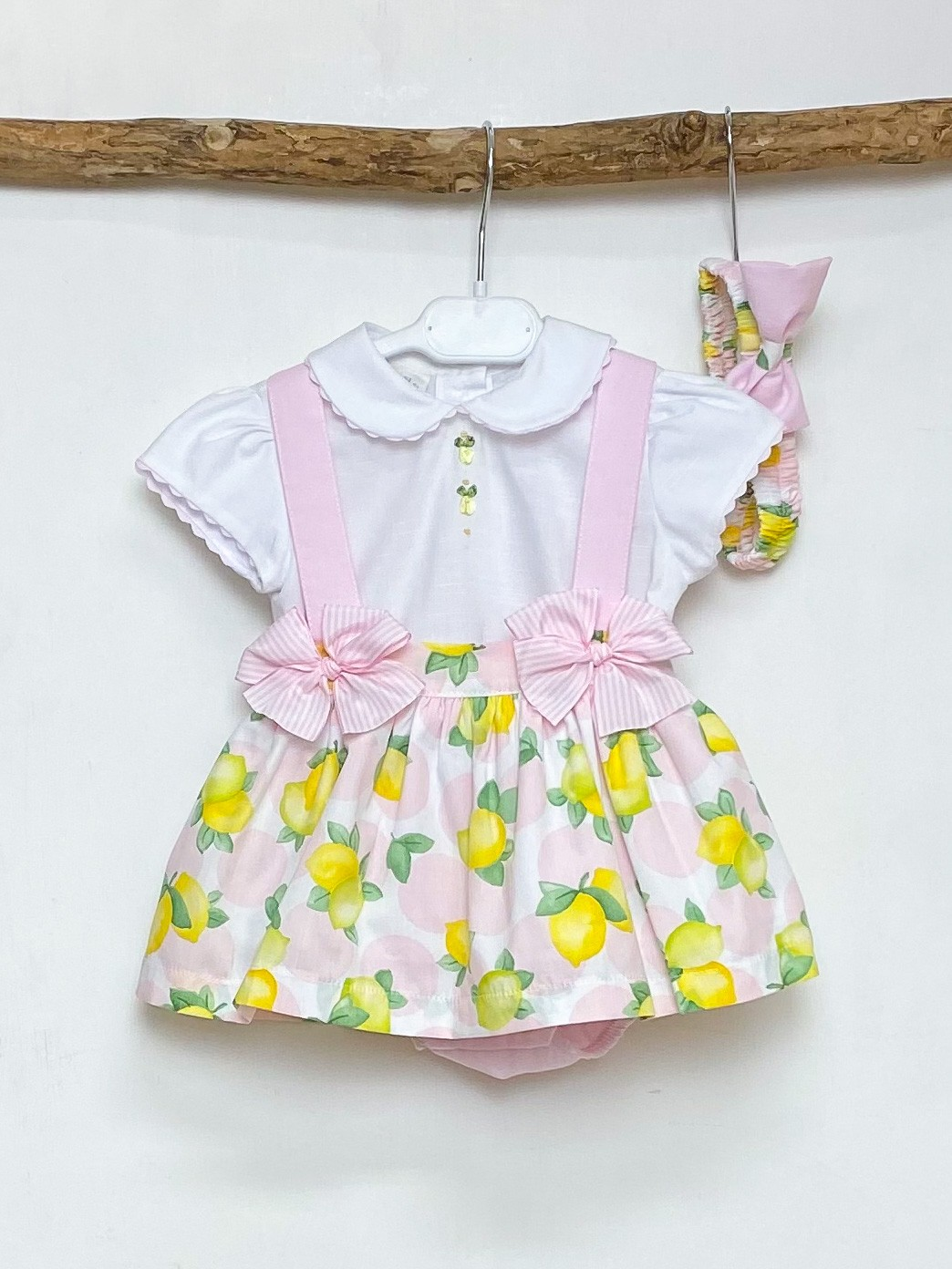 Blouse & Lemon Pinafore Set