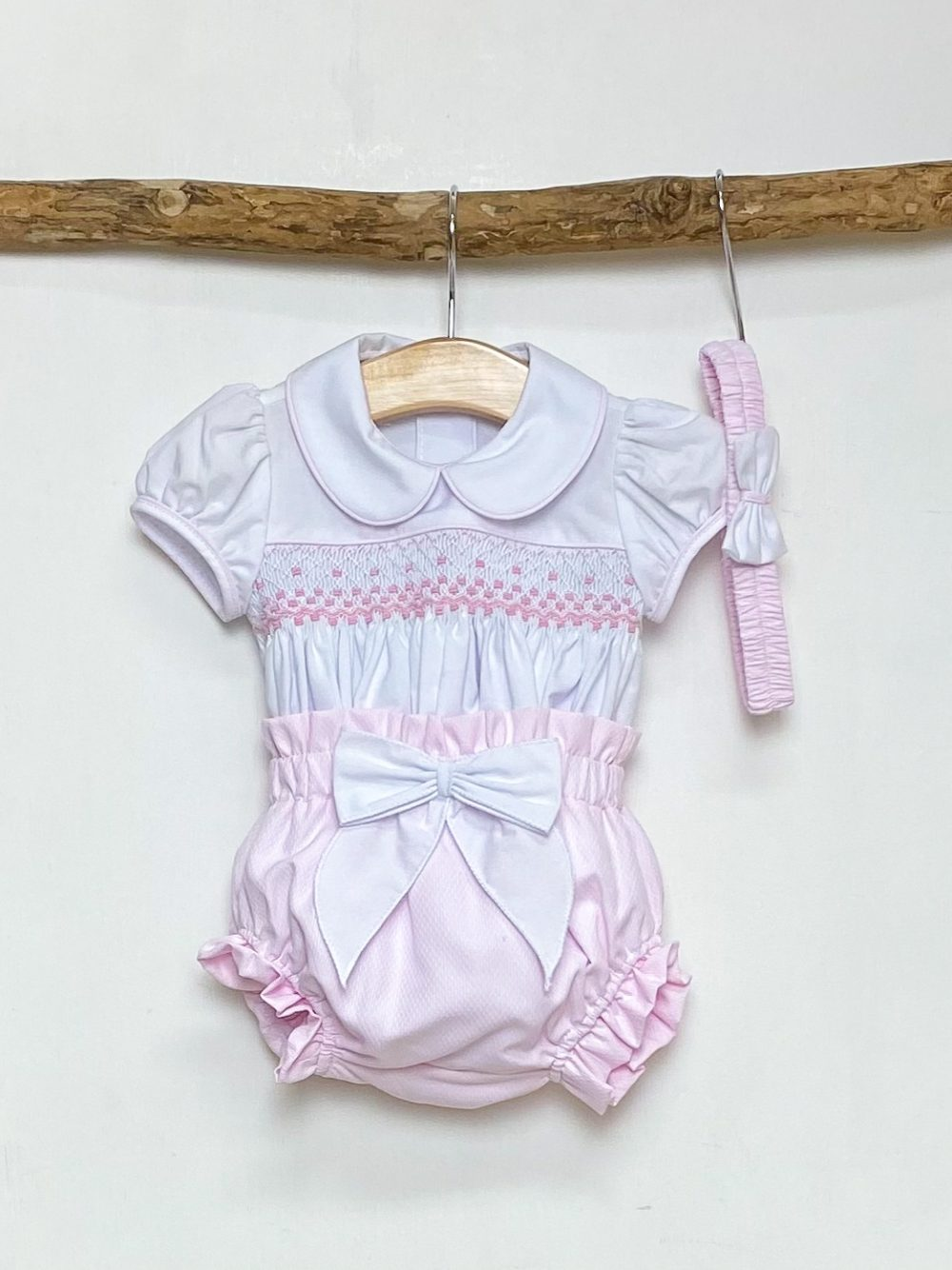 Pink Smocked Blouse & Bloomers