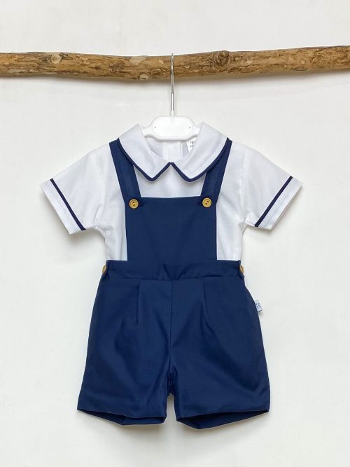 Shirt & Navy Dungaree Shorts