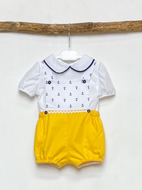 Shirt & Yellow Anchor Dungaree Set