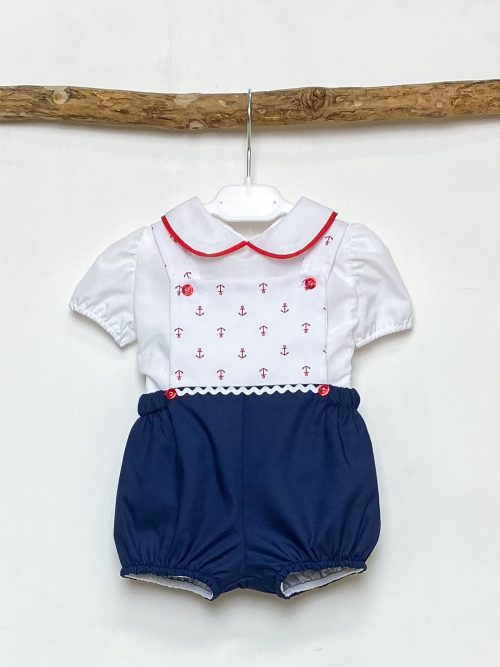 Shirt & Red Anchor Dungaree Set