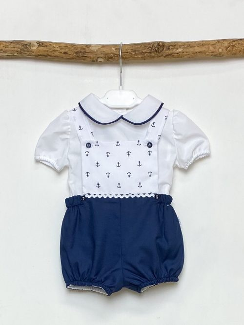 Shirt & Navy Anchor Dungaree Set