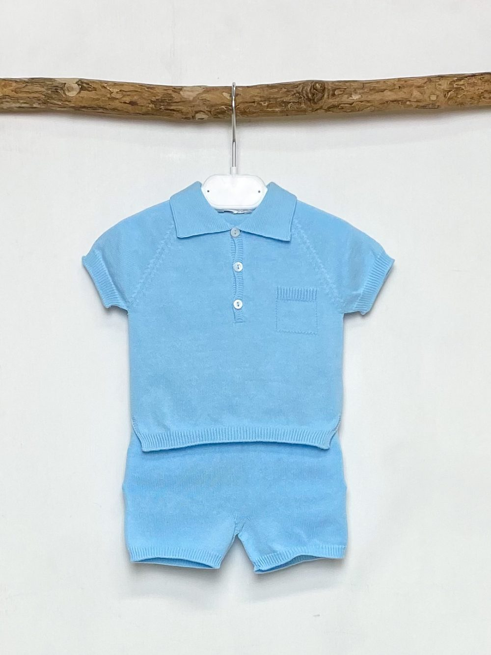 Blue Knitted Polo & Shorts Set
