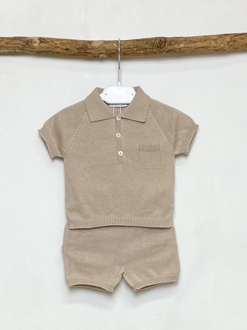 Beige Knitted Polo & Shorts Set