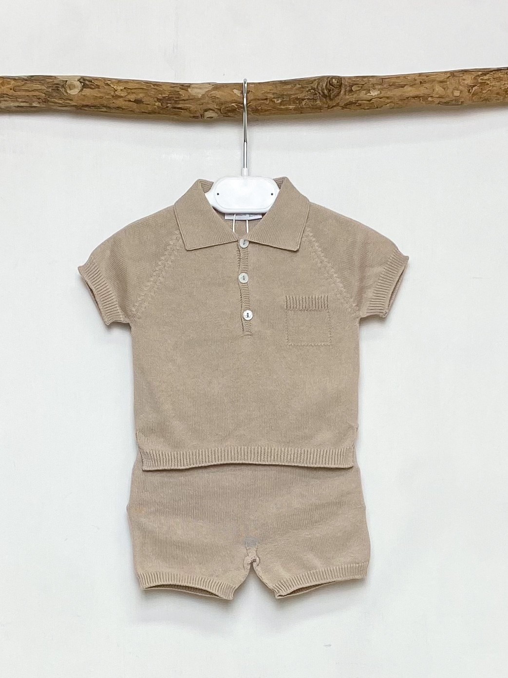 Beige Knitted Polo & Shorts