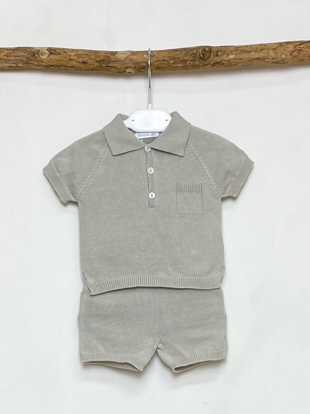 Taupe Knitted Polo & Shorts Set