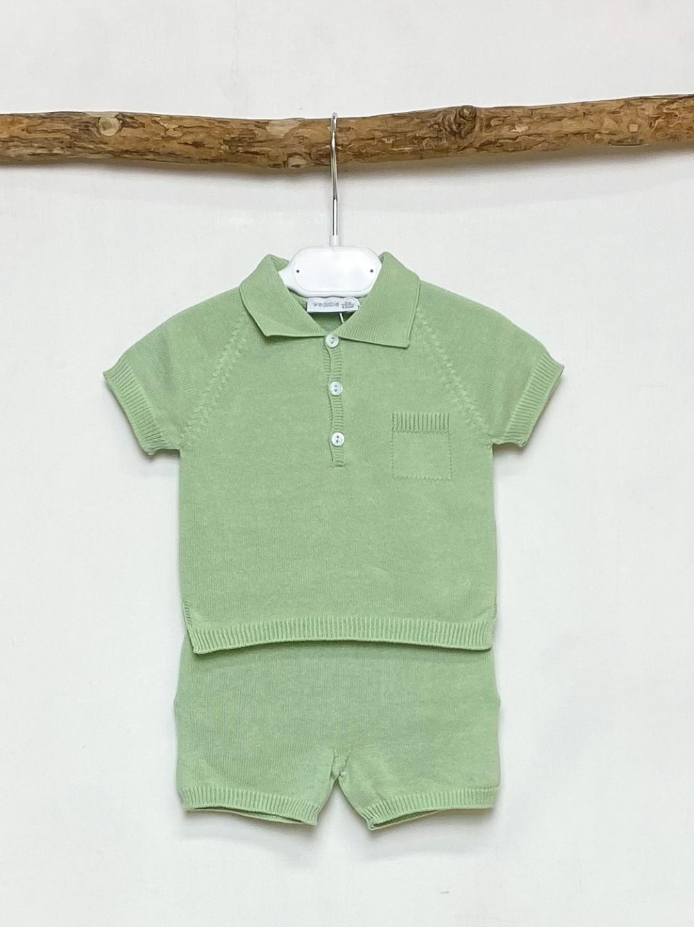 Green Knitted Polo & Shorts Set
