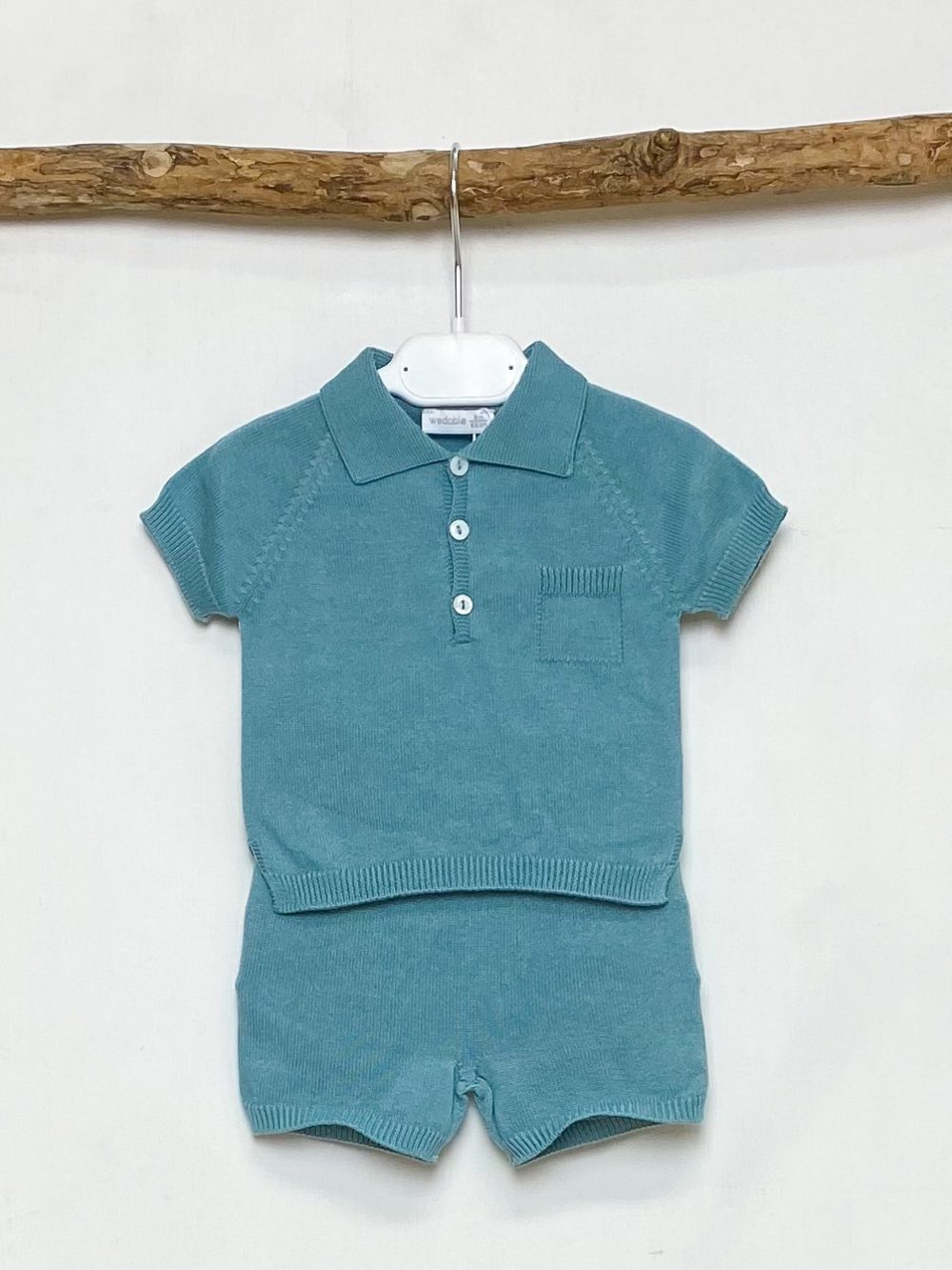 Teal Knitted Polo & Shorts Set