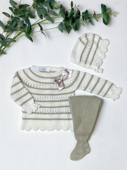 Ivory & Beige Striped Jumper & Leggings