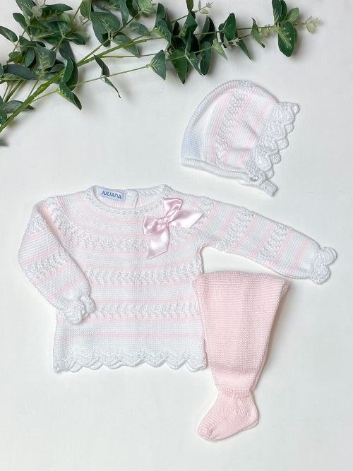 White & Pink Striped Jumper & Leggings