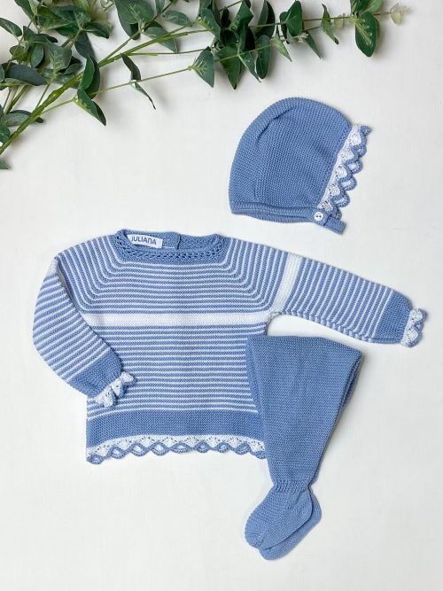 Soft Blue Striped Jumper & Leggings