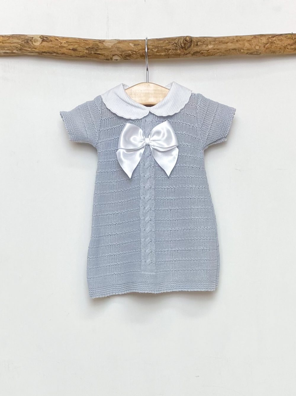 Grey Knitted Bow Dress