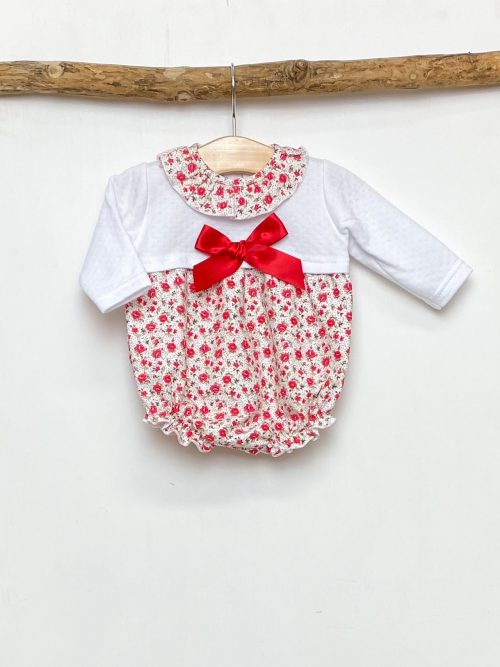 White & Red Floral Romper