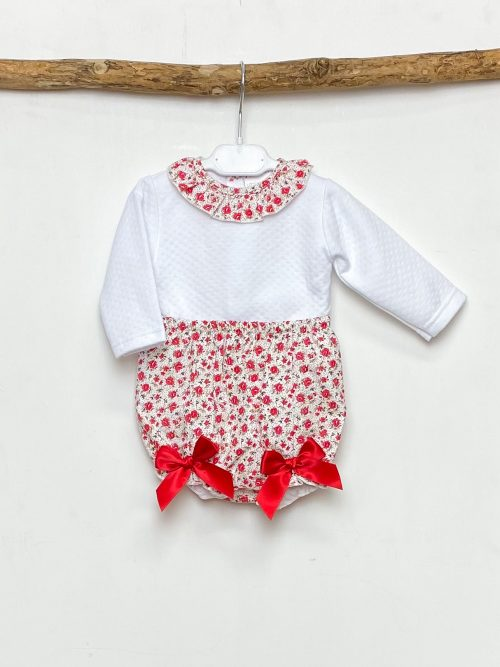 White Top & Red Floral Bloomers