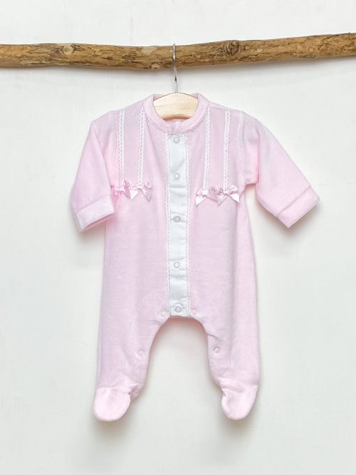 Pink Lace Bow Sleepsuit