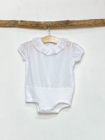 White Plumeti Short Sleeve Bodysuit