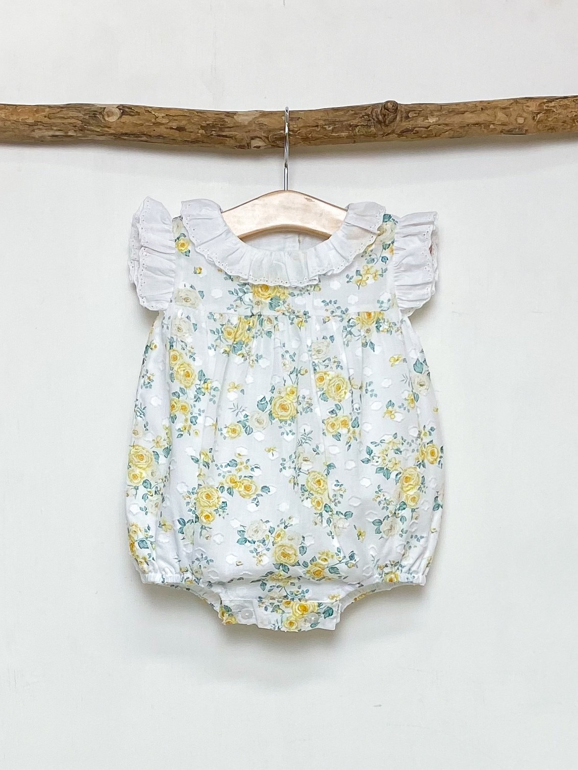 Yellow Rose Print Romper