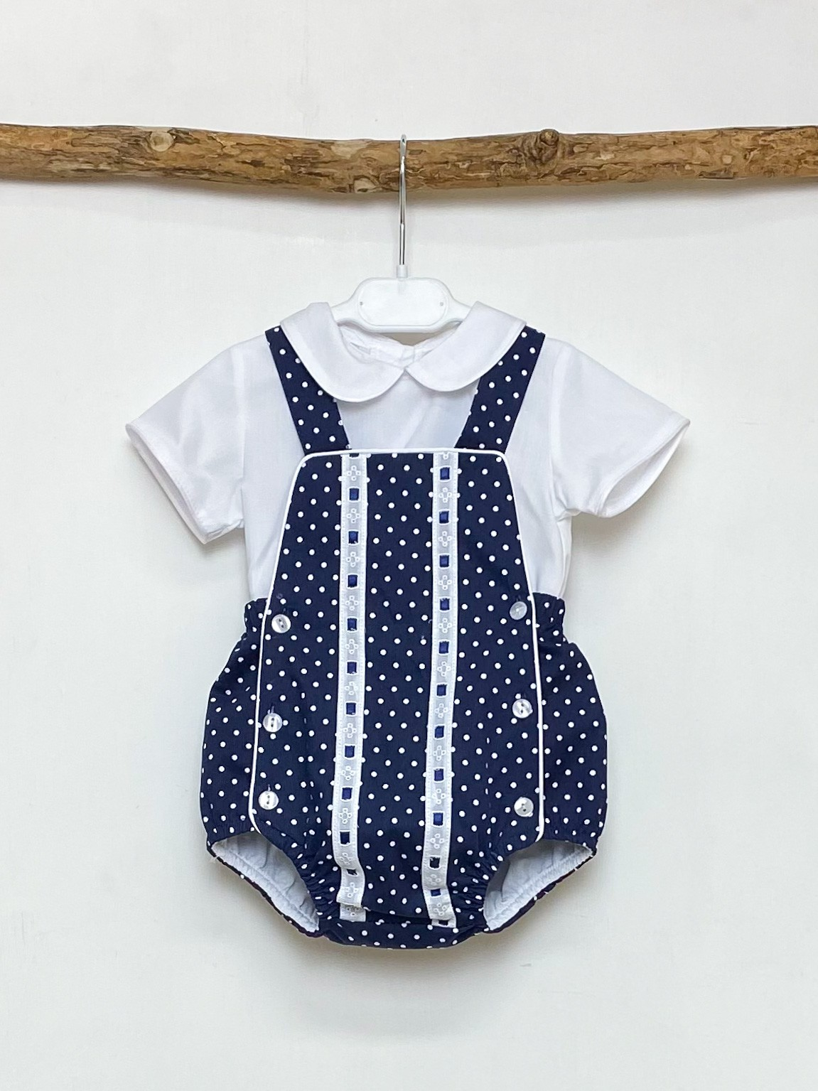Shirt & Navy Polka Dot Romper