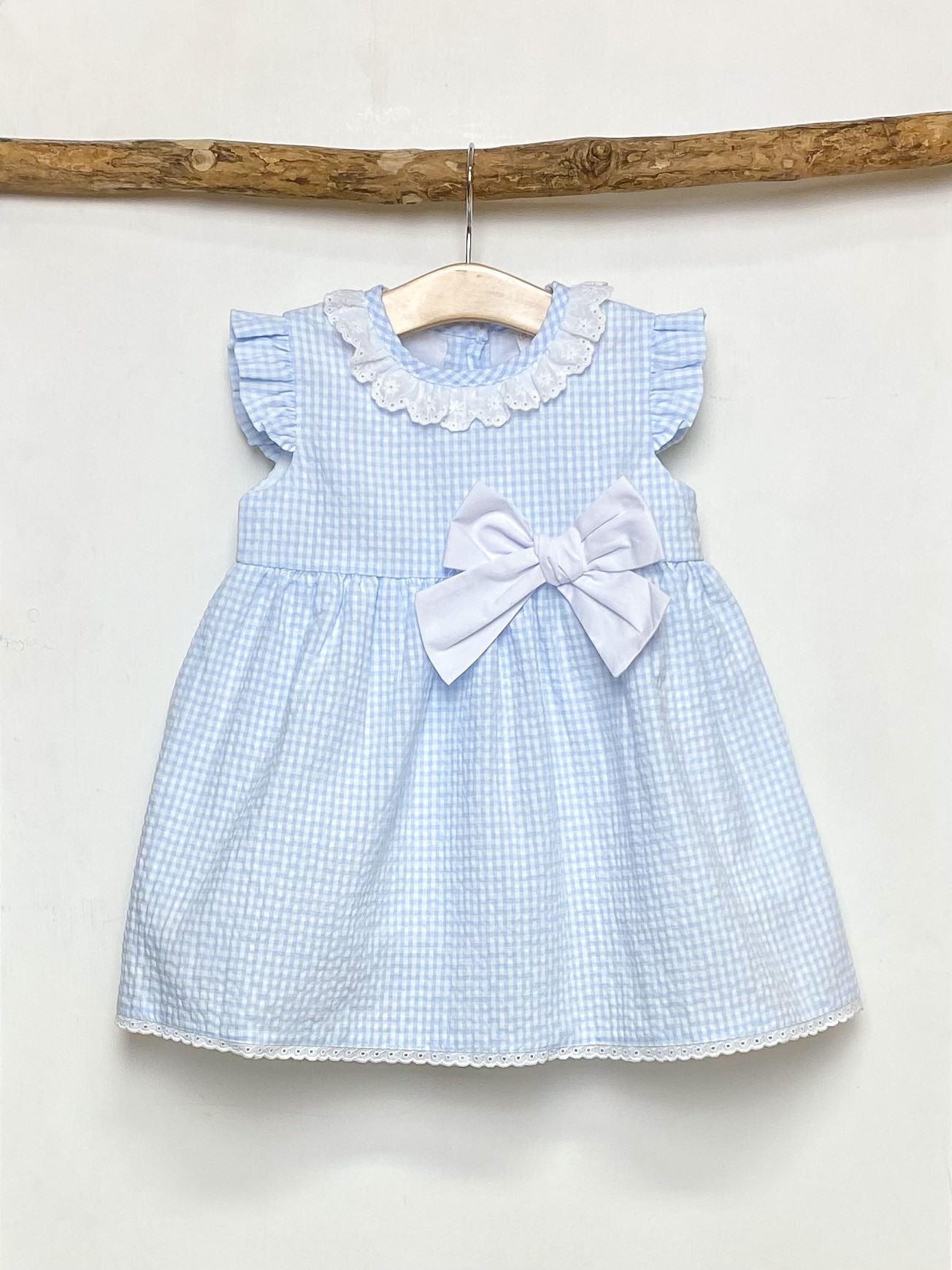 Blue Gingham Bow Dress
