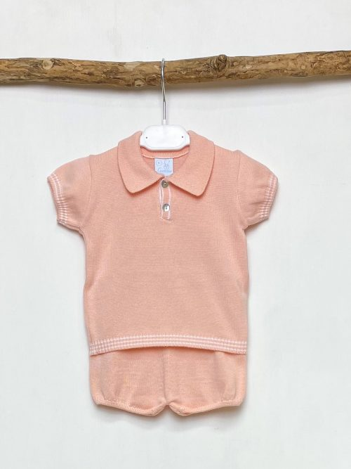 Peach Collared Top & Shorts