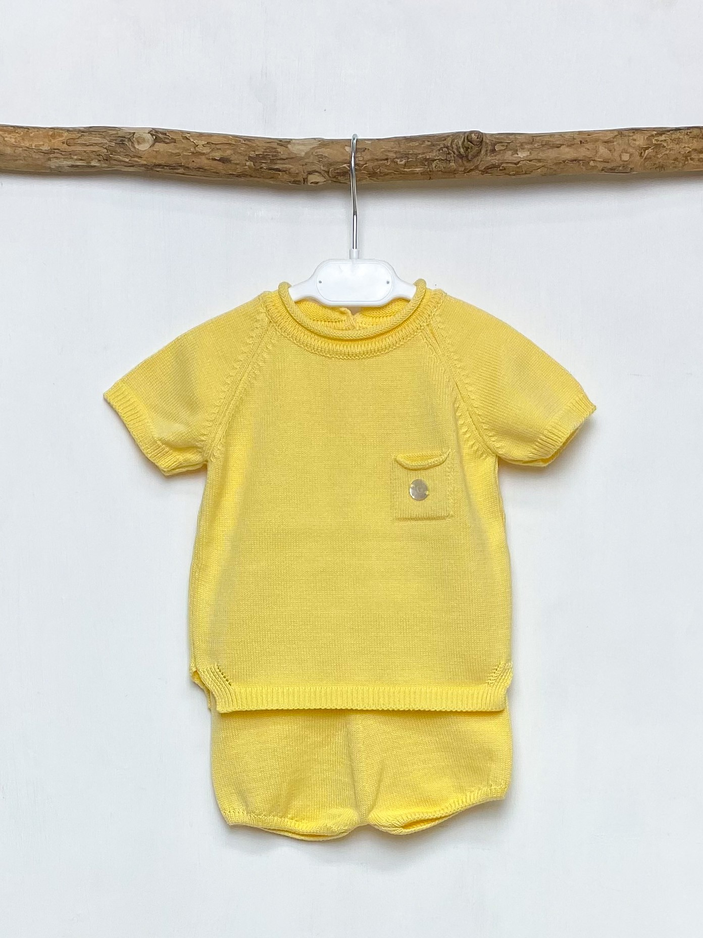 Yellow Knitted Top & Shorts