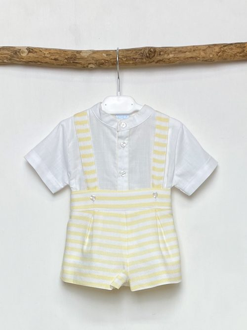 White Shirt & Yellow Stripe Shorts