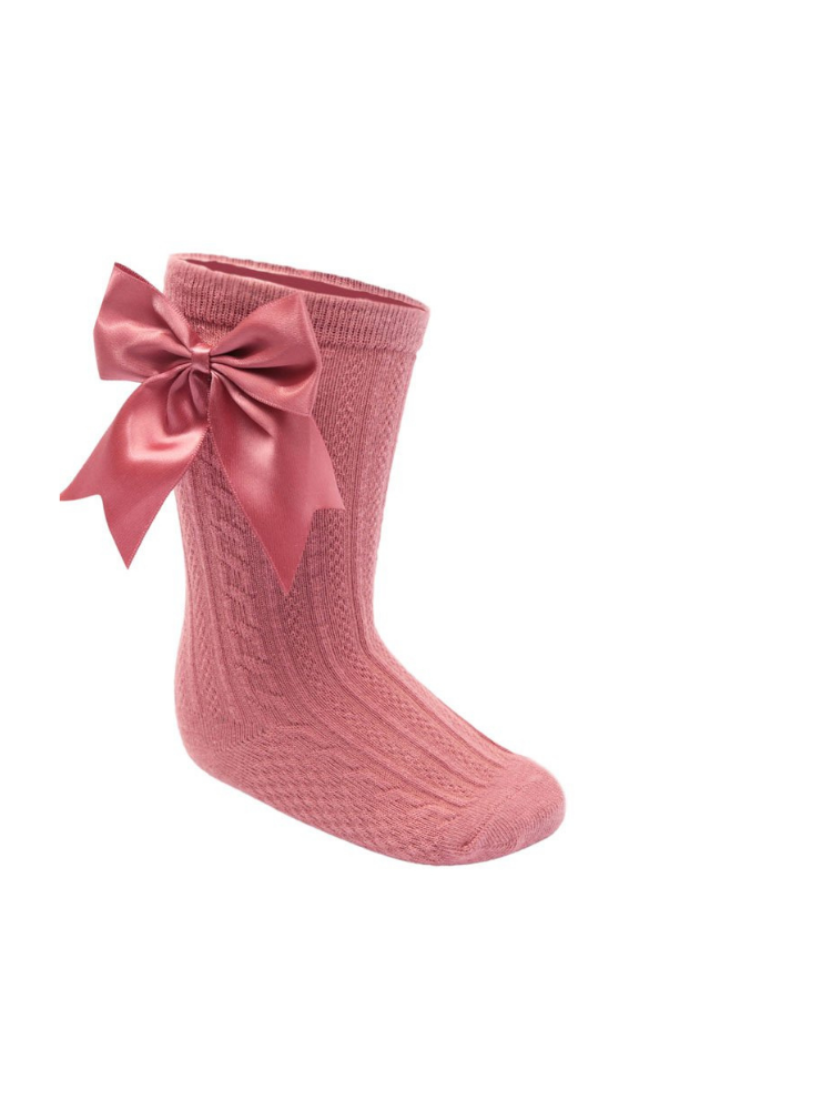 Mulberry Large Bow Knee High Socks