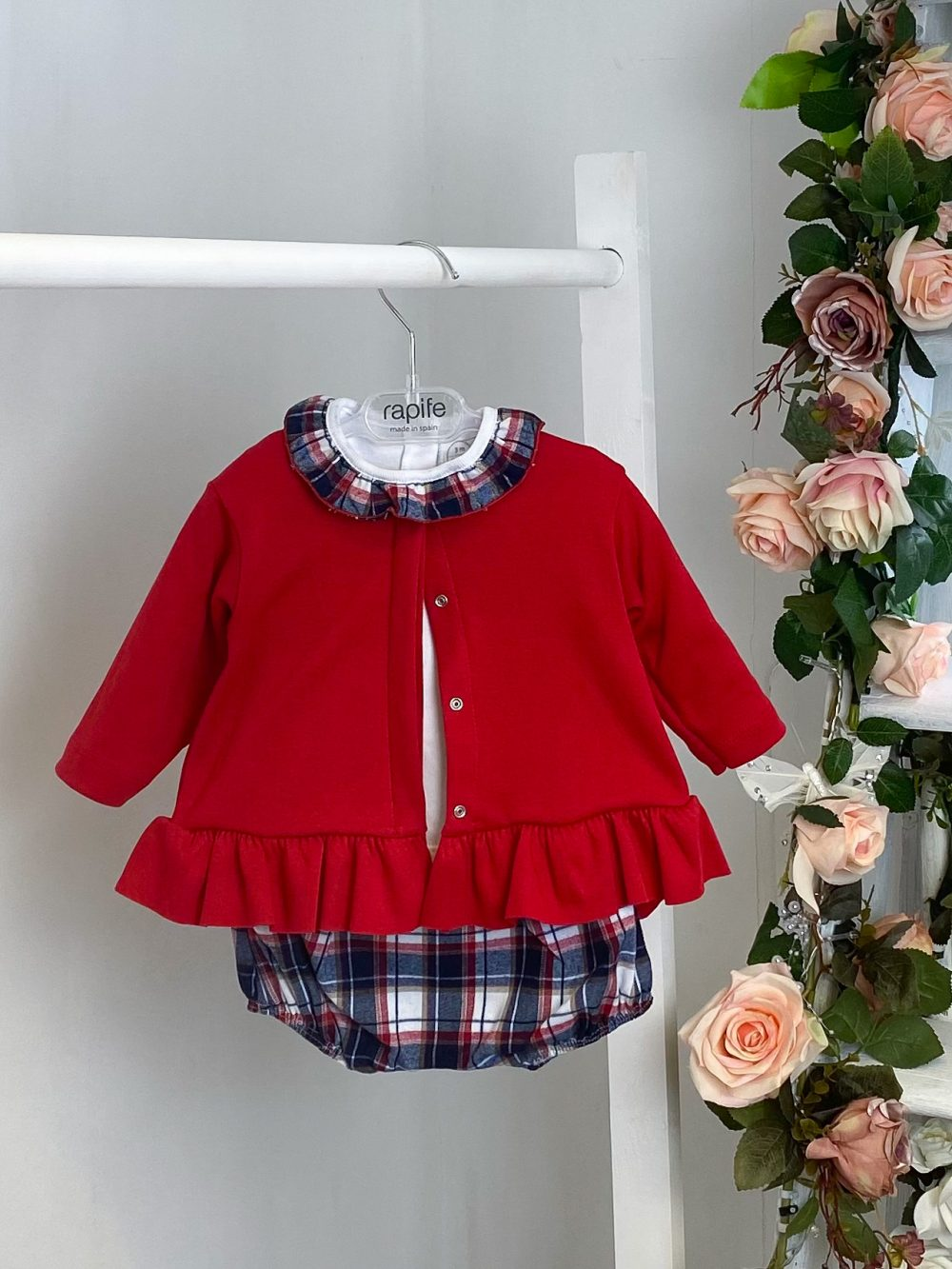 red peplum jacket outfit
