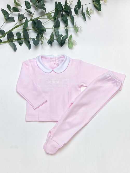 Pink Embroidered Top & Leggings