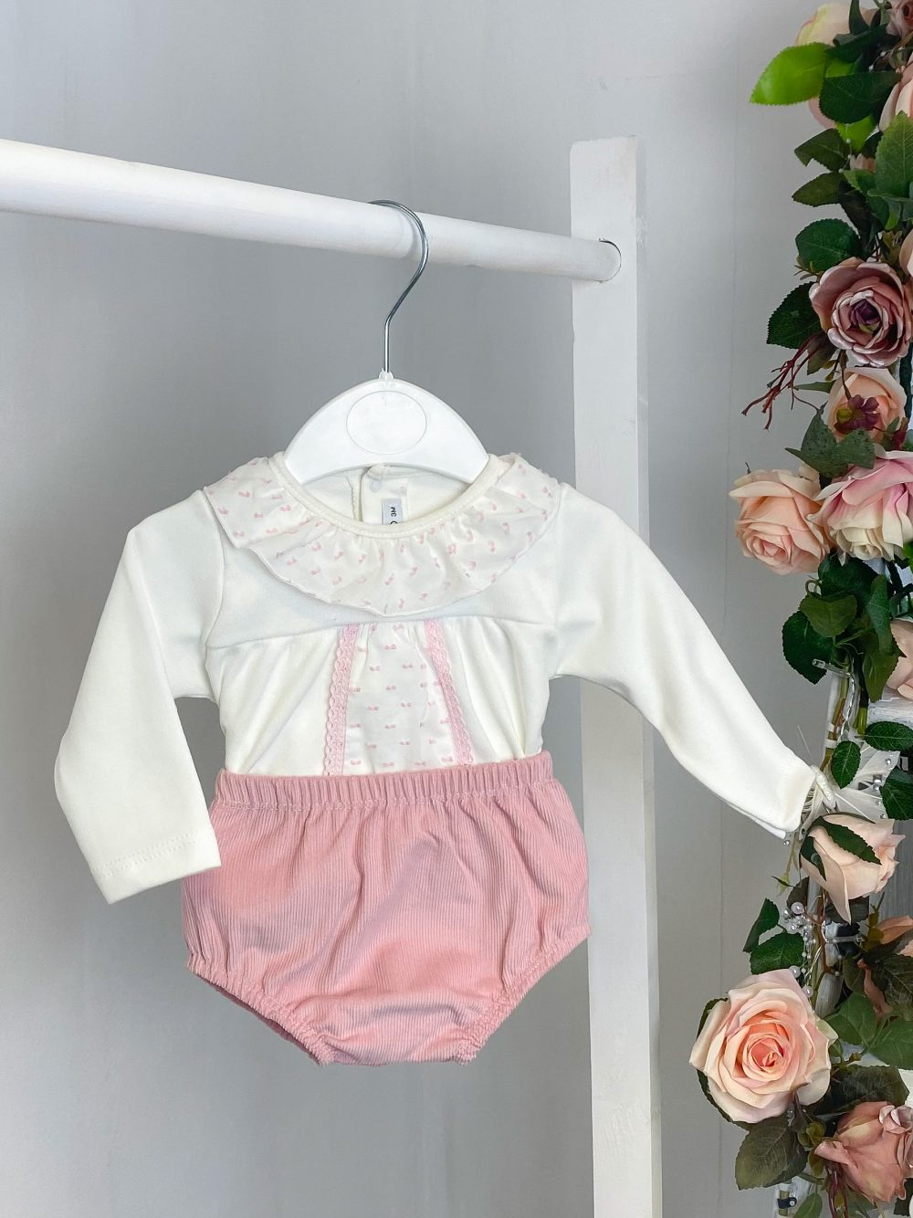 Frilled Blouse & Pink Cord Bloomers