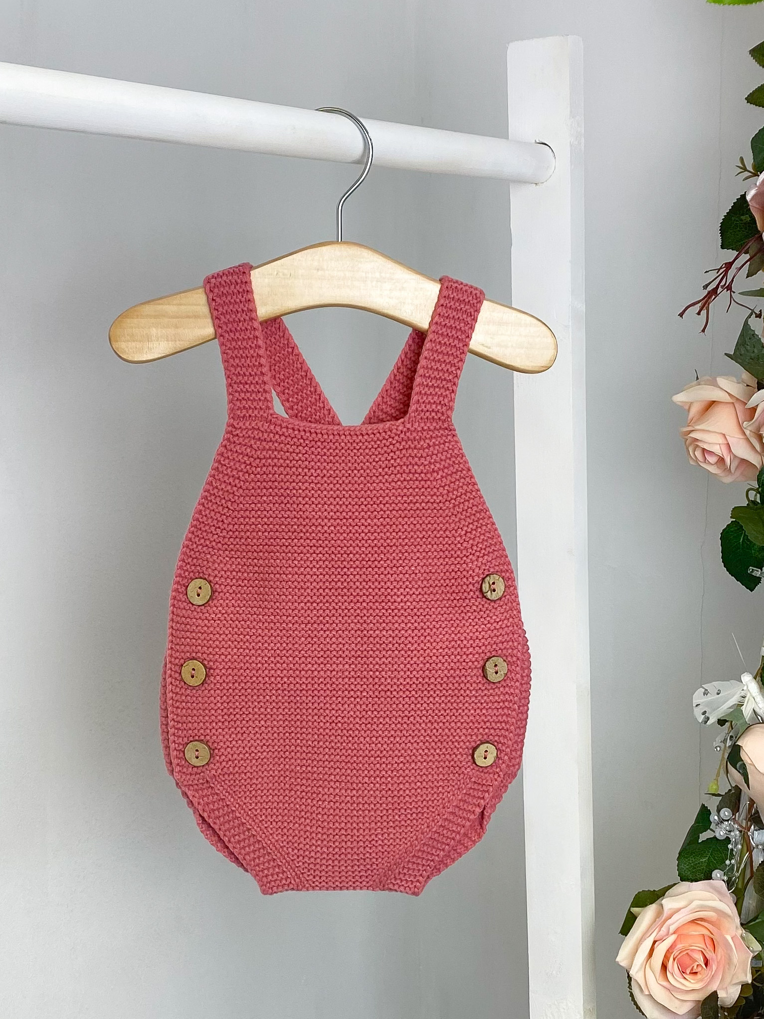 Coral Knitted Dungaree Romper
