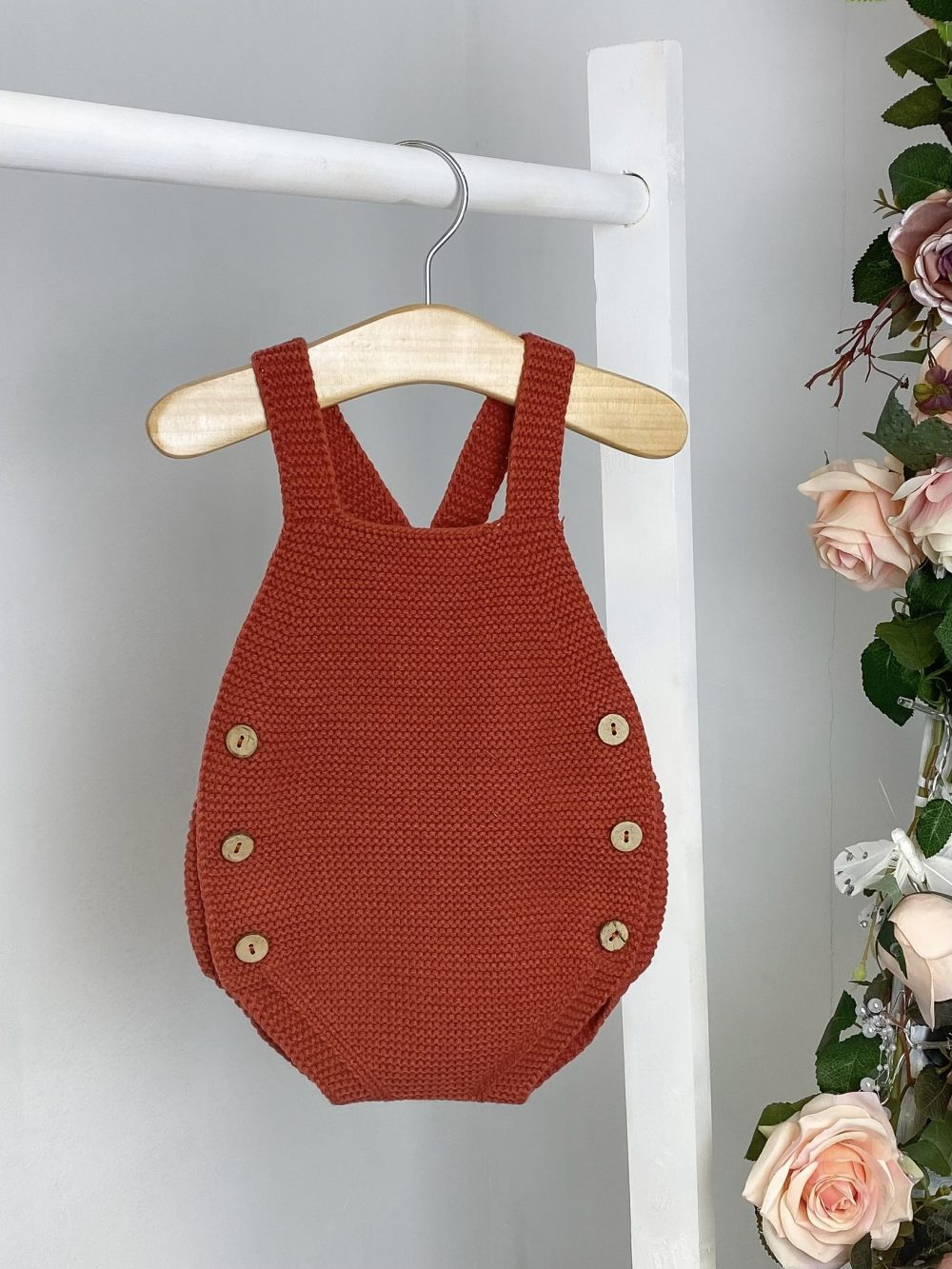 Rust Knitted Dungaree Romper