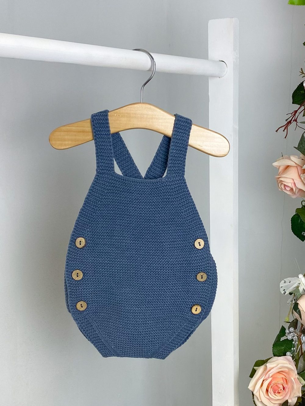 Petrol Knitted Dungaree Romper