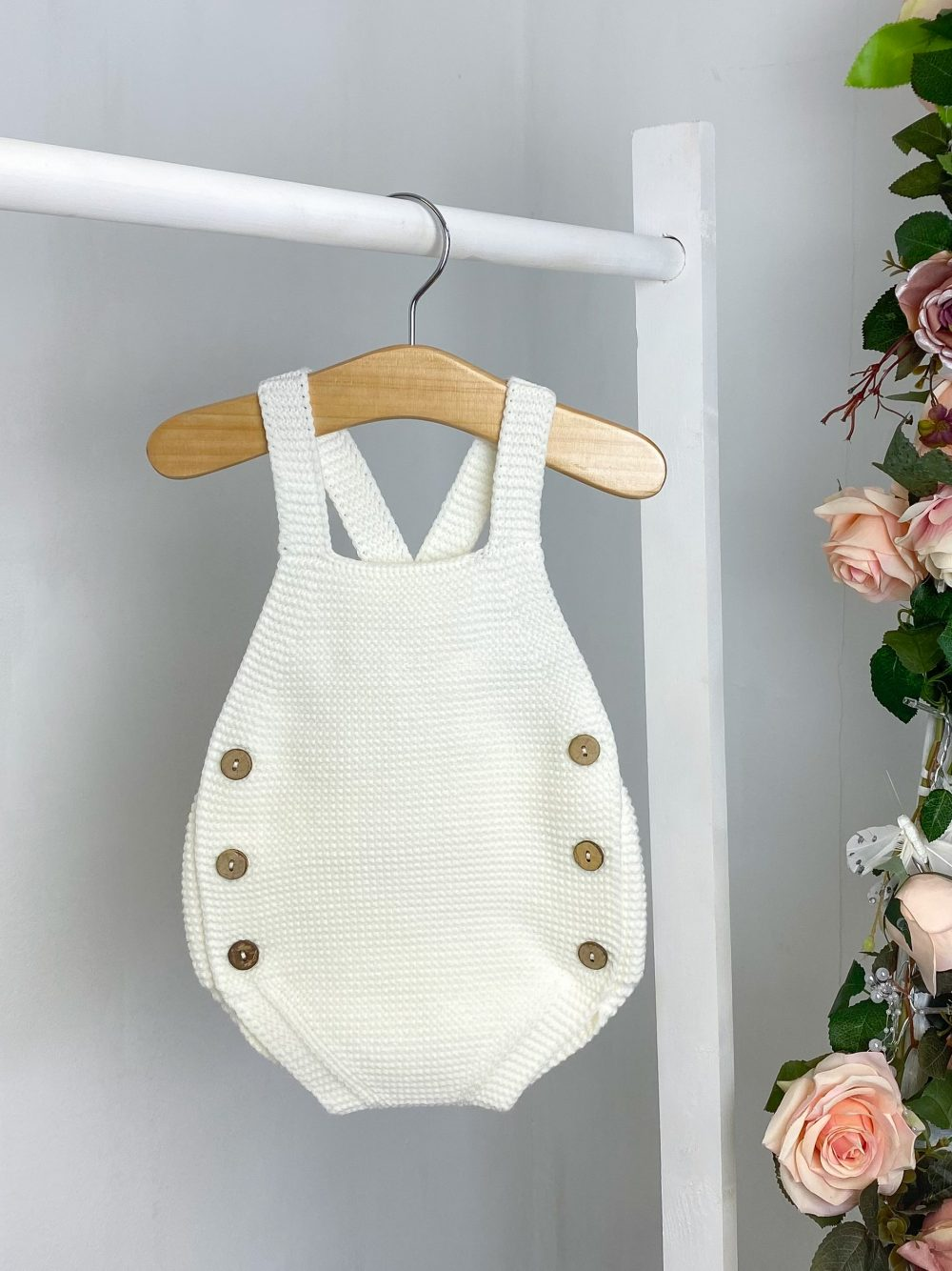 Ivory Knitted Dungaree Romper