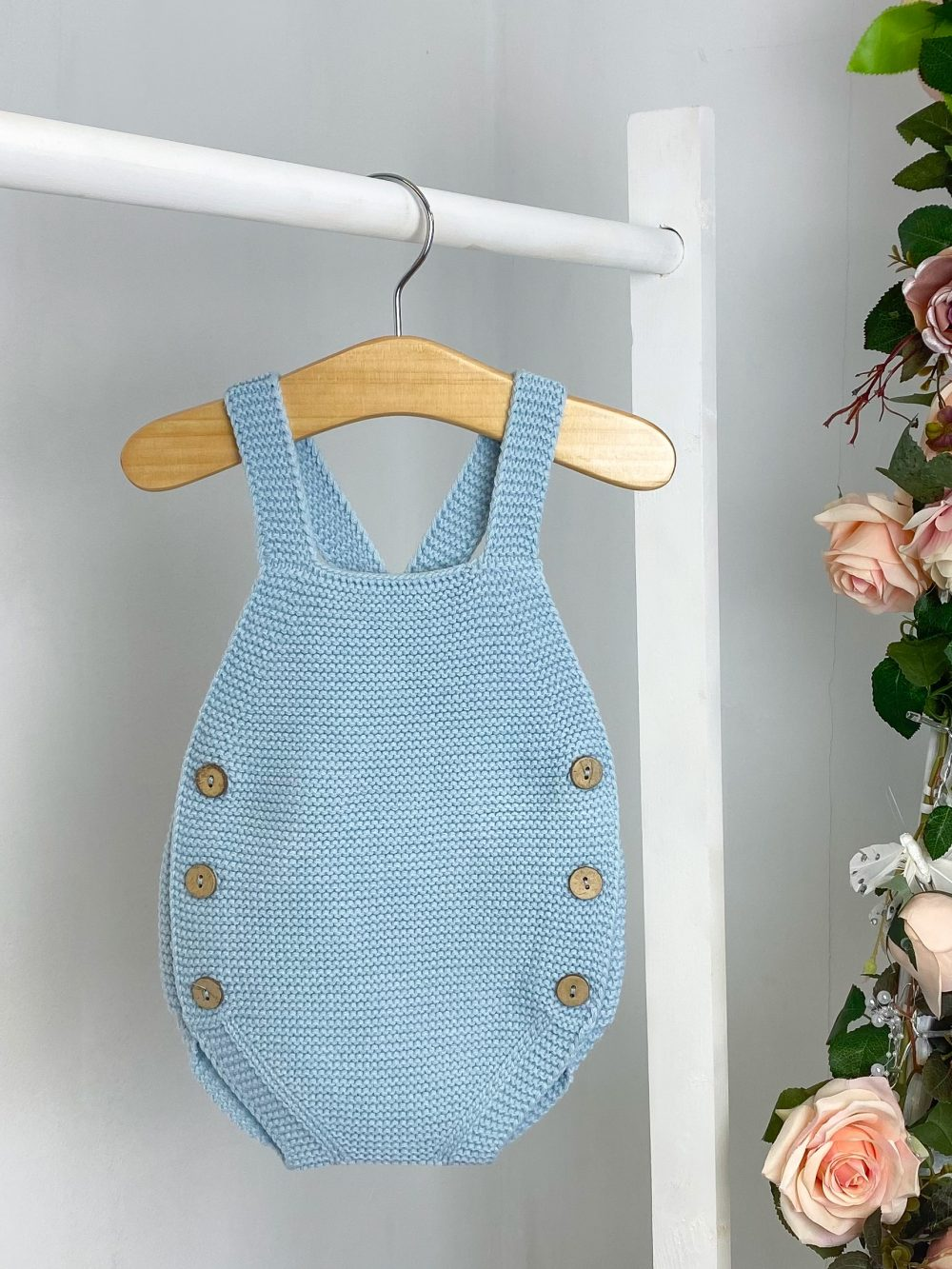 Blue Knitted Dungaree Romper