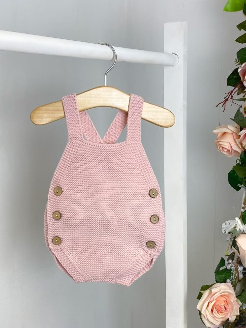Pink Knitted Dungaree Romper