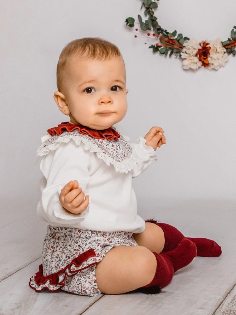 Ivory Blouse & Burgundy Floral Bloomers
