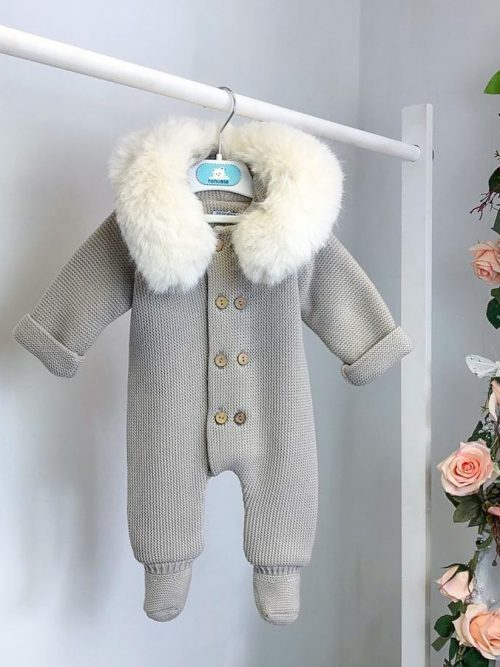 Camel Faux Fur Footed Pramsuit