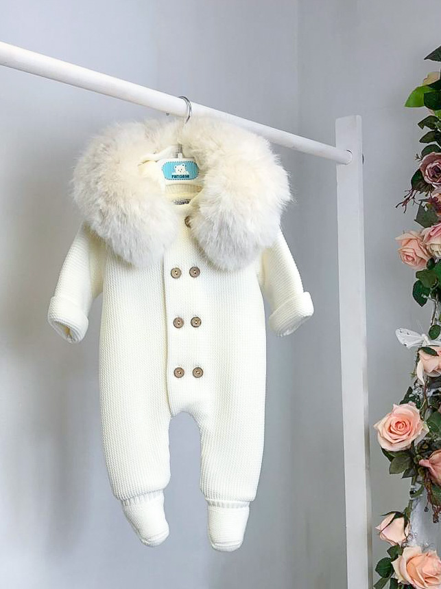 Ivory Faux Fur Footed Pramsuit