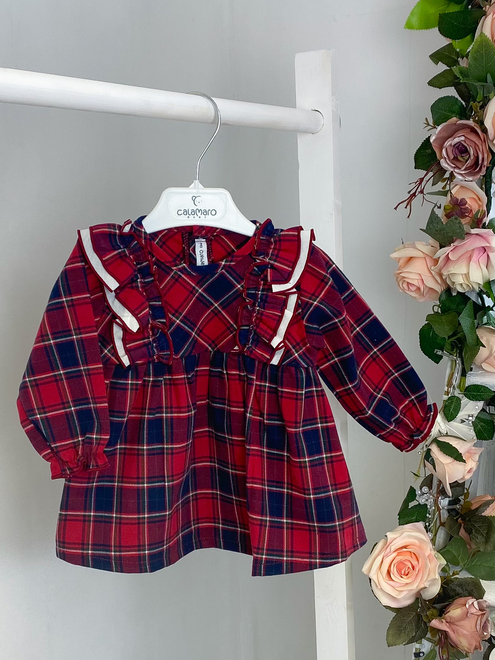 Red & Navy Checked Dress